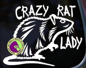 CRAZY RAT LADY Funny Pet Rats Rodent Vinyl Decal Sticker