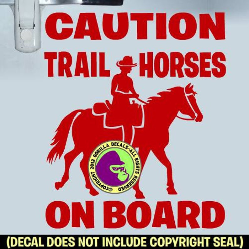 HORSES ON BOARD REARING HORSE Caution Trailer Vinyl Decal Sticker A KEEP YOUR DISTANCE