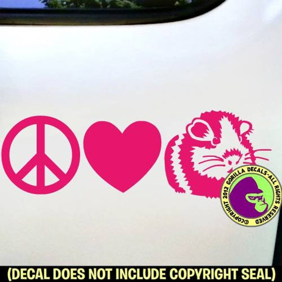 "5/"" PEACE AND LOVE vinyl decal car window laptop sticker lucky charm sign heart"