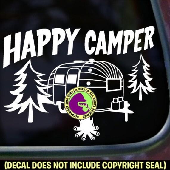 HAPPY CAMPER Airstream RV Vinyl Sticker autocollant
