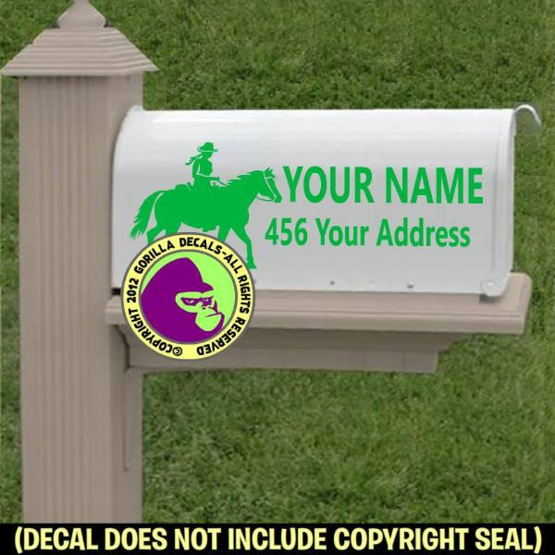 Add Your CUSTOM ADDRESS Vinyl Decal Sticker Trail Horse Rider MAILBOX Set of 2