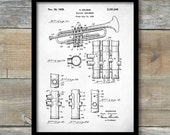 Selmer Trumpet Patent Print, Selmer 1939 Trumpet Patent Poster, Musician Art, Trumpet Art, Music Room Decor, Trumpet Decor, P248