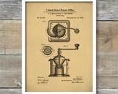 Coffee Grinder Patent Art, Coffee Patent Print, Patent Poster, Coffee Decor, Kitchen Decor, Restaurant Decor, Patent Print, Wall Décor, P445