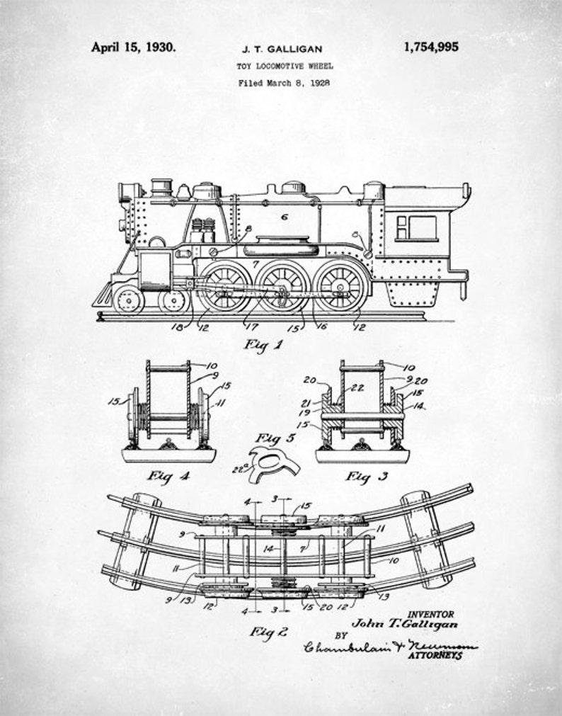 Gift Idea Toy Locomotive Art Print Poster Play Train P189 Home Decor Retro 1930 Toy Locomotive Vintage Patent Illustration Wall Art