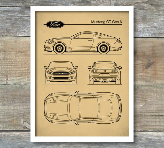 Patent print auto art ford mustang blueprint car art malvernweather Gallery