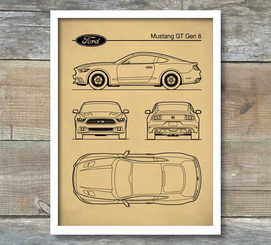 Patent-Print Auto Kunst Ford Mustang Blaupause Auto Kunst