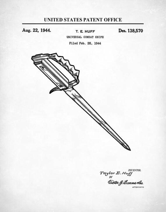 Universal Combat Knife Patent Patent Print Wall Decor
