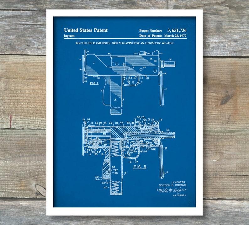 Patent Poster Mac-10 Uzi Patent Print Patent Art Print   Etsy on akm schematic, tavor schematic, fn minimi schematic, desert eagle schematic, pistol schematic, m1911 schematic, taser schematic, jericho 941 schematic, chainsaw schematic, amd 65 schematic, ar-15 schematic, glock schematic, revolver schematic, m14 schematic, makarov schematic, m4 schematic, marlin model 60 schematic, beretta 92 schematic, winchester schematic, fal schematic,