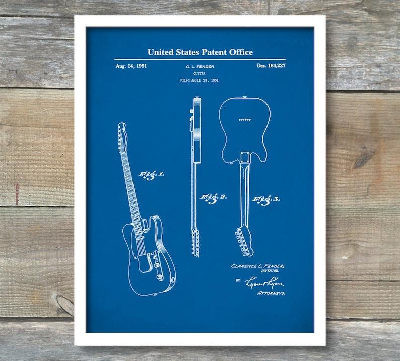 a0527223c9d16 Impression brevet, brevet de guitare, Fender Telecaster guitare brevet  1951, décoration murale, affiche de musique, musique Art, brevet ...