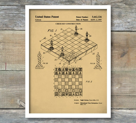 Chess Game Patent Poster Board Game Art Game Room Wall Art
