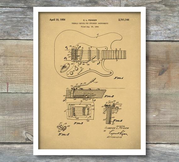 Tremolo Guitar Patent Prints Fender Patent Poster Whammy Bar Etsy