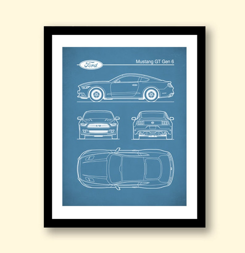ford mustang gen 6 blueprint auto art patent print car art etsy 1997 Ford Mustang Engine Diagram 50