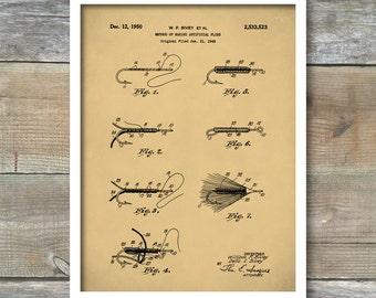 Patent Prints, Fly Fishing Patent Poster, Lake House Wall Art, Fisherman Gift, Cabin Decor, Patent Print, Outdoorsman, Patent Poster, P406