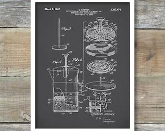 Patent Prints, Coffee Pot Patent, French Press Coffee Pot Poster, Kitchen Art, Coffee Pot Print, Coffee Pot Art, Coffee Pot Blueprint, P174