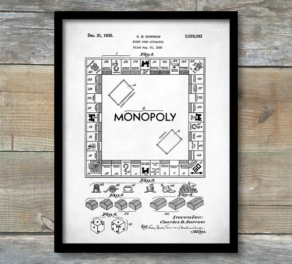 Patent Poster Monopoly Game Patent Wall Art Poster | Etsy