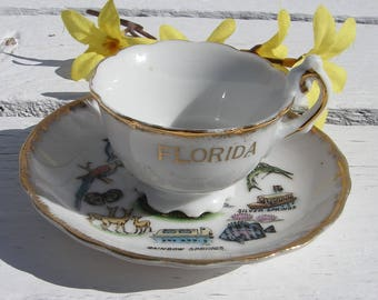 Vintage Florida Souvenir Miniature Porcelain Teacup and Saucer Made in Japan, Sunken Gardens, Silver Springs, Rainbow Springs, Fl Souvenirs