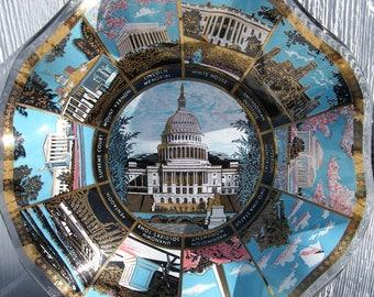 Vintage US Capitol Souvenir Candy Bowl, Washington DC Souvenir Dish, Fluted Glass  Bowl, US Souvenirs, Lincoln Memorial, White House
