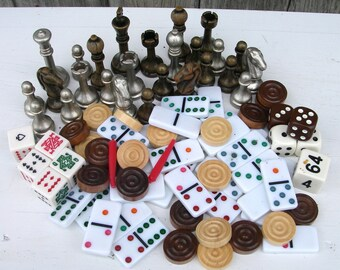 Mixed Lot of Game Pieces For Arts Crafts Jewelry Supplies, Dominos, Dice, Poker Dice, Wood Checkers, Metal Chess Pieces