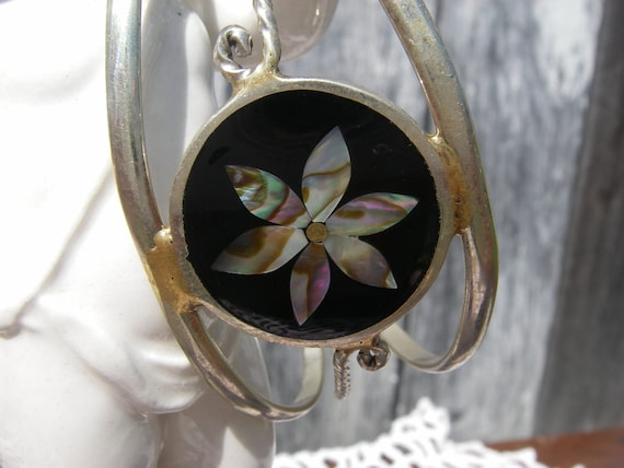Vintage Alpaca Silver Flower Abalone and Black Onyx Mother of Pearl Inlay Cuff Bracelet and Earring Set mexican jewelry set jewelry set