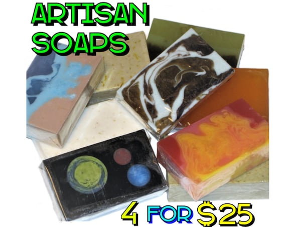 4 Soap Bars for 25 Dollars - Save Money when you buy 4 Artisan Soaps! (Companys Choice) - Vegan / Space / Bohemian / Lemon / Salt / Acne