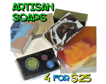 4 Soap Bars for 25 Dollars - Save when you buy 4 Artisan Soaps! (Company's Choice), Vegan, Gift, Birthday, Lemon Soap, Salt Soap, Acne Soap