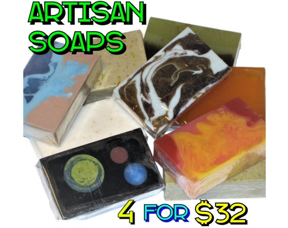 4 Soap Bars for 32 Dollars - Save Money when you buy 4 Artisan Soaps! (Companys Choice) - Vegan / Space / Bohemian / Lemon / Salt / Acne