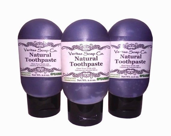 Black TOOTHPASTE - Clean your Teeth with Silver, Calcium and Activated CHARCOAL in SPEARMINT /Vegan / No Fluoride / No sls / Face Scrub