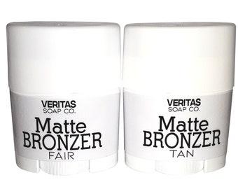 Matte BRONZER - For Face and Body in FAIR & TAN, Self Tanner, Vegan, Natural Glow Stick, Stick Bronzer, Cream Blush, Makeup, Natural Bronzer