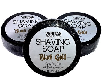SHAVING SOAP Black Gold - Activated Charcoal, Organic Black Seed Oil, & Babassu Oil with Spicy Bay Rum, Men's Soap, Soap Puck, Gift for Him