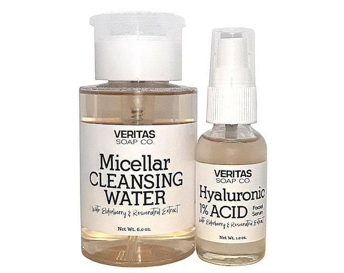 Featured listing image: 1% HA Facial Serum + Micellar Water DUO w/ Elderberry & Resveratrol Extract, Vegan, Sensitive Skin, Acne, Clear Skin, Deep Clean, Fresh Face