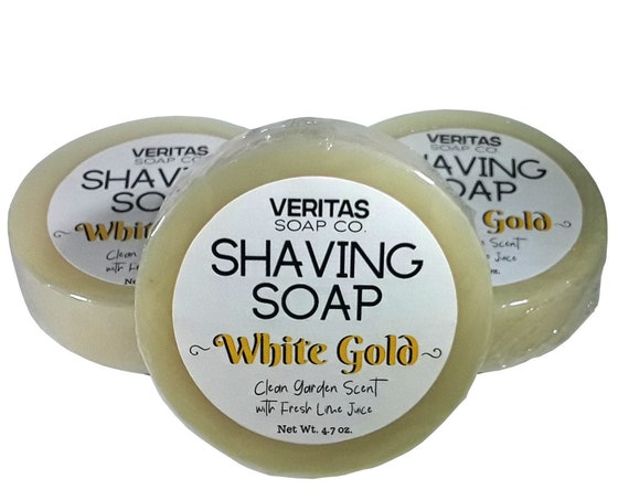 SHAVING SOAP White Gold - Fresh Squeezed Lime Juice, Kaolin Clay, Tucuma Butter with a Clean Garden Scent, Basil, Rosemary, Mint, Men's Soap
