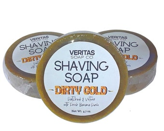SHAVING SOAP Dirty Gold - Fresh Ripe Organic Bananas, Aloe Butter, Avocado Oil with Patchouli & Vetiver Essential Oil, Men's Soap, Groovy