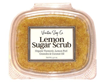 LEMON Sugar SCRUB - Organic Coconut Sugar, Turmeric, Coconut Oil & Lemon Peel Granules / Vegan / Body Scrub / Soft Skin / Gift for Her