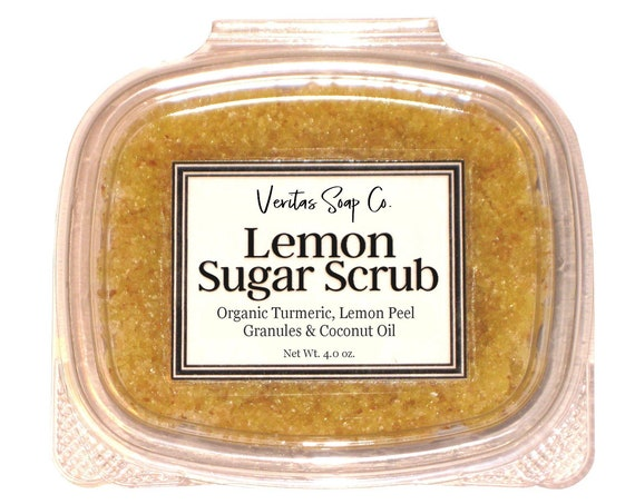 LEMON Sugar SCRUB - Organic Coconut Sugar, Turmeric, Coconut Oil & Lemon Peel Granules / Vegan / Body Scrub / Soft Skin / Gift for Her