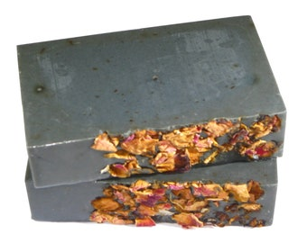 Floral Soap - The MIDNIGHT ROSE Bar - Activated Charcoal, Organic Gooseberry Powder, Rose Powder, Lime Juice & Essential Oils, Vegan, Garden