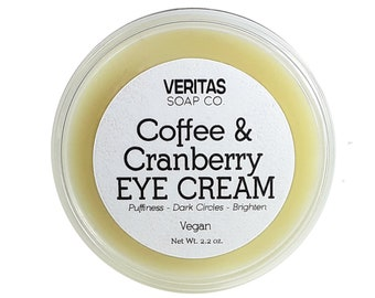 Coffee & Cranberry EYE CREAM - Help give your puffy Eyes a boost of circulation with Caffeine, Rose Hip, Andiroba and Cranberry, Vegan, Soft