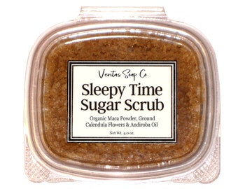 SLEEPY TIME Sugar SCRUB - Organic Maca Powder, Andiroba Oil & Ground Calendula Petals / Vegan / Body Scrub / Bedtime / Gift for Her