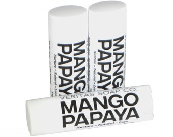 MANGO PAPAYA Lip Balm - Organic Mango and Papaya Juice to Tighten the Skin & Help Lighten Age Spots - VEGAN