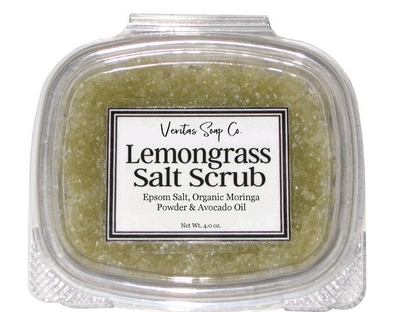 LEMONGRASS Salt SCRUB - Epsom Salt, Organic Moringa Powder, Organic Avocado Oil & Pure Essential Oil / Vegan / Garden / Salt Life / Gift