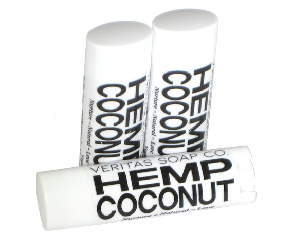 HEMP COCONUT Lip Balm - Organic Hempseed Oil & Organic Unrefined Coconut Oil - VEGAN / Pool / Beach / Summer / Chapped Lips