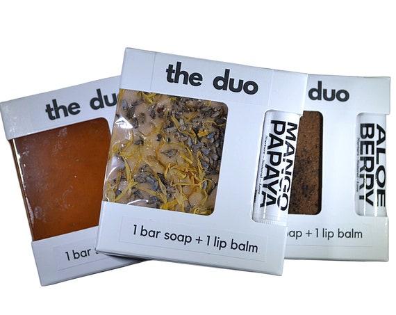 THE DUO - Bestseller Pack - 1 Soap Bar + 1 Lip Balm - Custom Gift | Artisan Soap | Gift for Teen | Birthday Gift | Gift under 15 Dollars