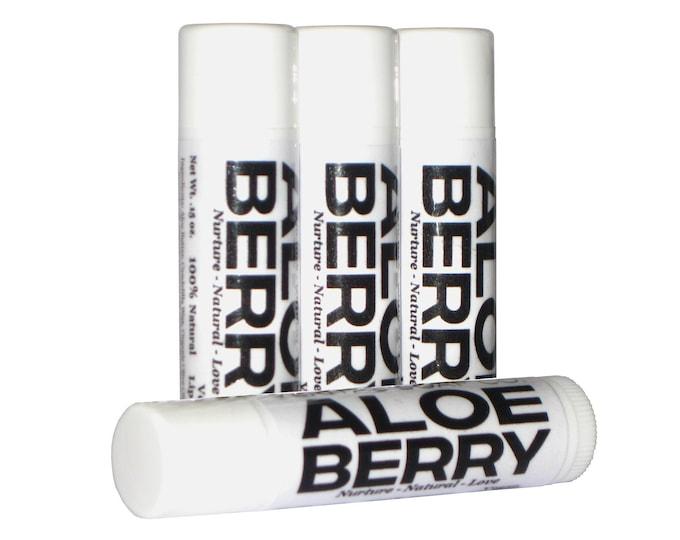 Featured listing image: ALOE BERRY Lip Balm - Aloe Butter, Blueberry & Strawberry Juice to Help Lighten Dark Spots  - VEGAN / Lip Balm/ Fruit Juice / Soft Lips