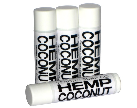 HEMP COCONUT Lip Balm - Organic Hempseed Oil & Organic Unrefined Coconut Oil - VEGAN / Pool / Beach / Summer / Chapped Lips
