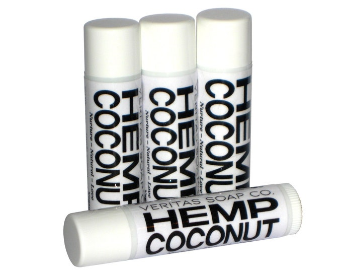 Featured listing image: HEMP COCONUT Lip Balm - Organic Hempseed Oil & Organic Unrefined Coconut Oil - VEGAN / Pool / Beach / Summer / Chapped Lips
