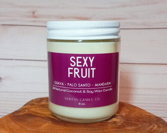 SEXY FRUIT All Natural Coconut + Soy Wax Candle | Palo Santo Wood | Woodsy Candle | Sugared Orange | Date Night | Fruity