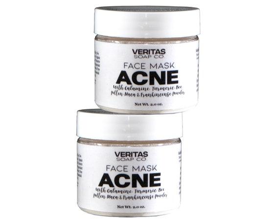 ACNE Face Mask/Cleansing Grains - Calamine Powder, Bee Pollen Powder, Organic Turmeric, Frankincense, Aloe Vera, Sea Clay & Maca Powder