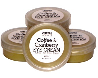 Coffee & Cranberry EYE CREAM - Help give your puffy Eyes a boost of circulation with Caffeine, Rose Hip, Andiroba and Cranberry / Vegan /