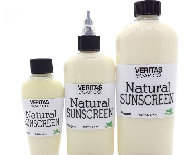 Featured listing image: Natural SUNSCREEN - Made with Organic Ingredients /Kid Safe / NO Chemicals / Beach / Pool / Summer / Camping / Daily Use / Reef Safe
