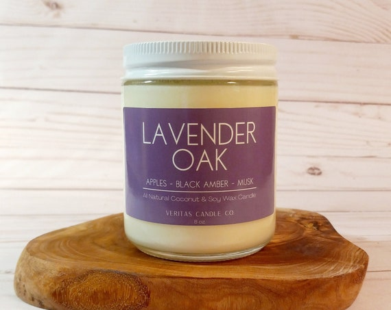 LAVENDER OAK All Natural Coconut + Soy Wax Candle | Palo Santo Wood | Woodsy Candle | Musk | Sweet Grass