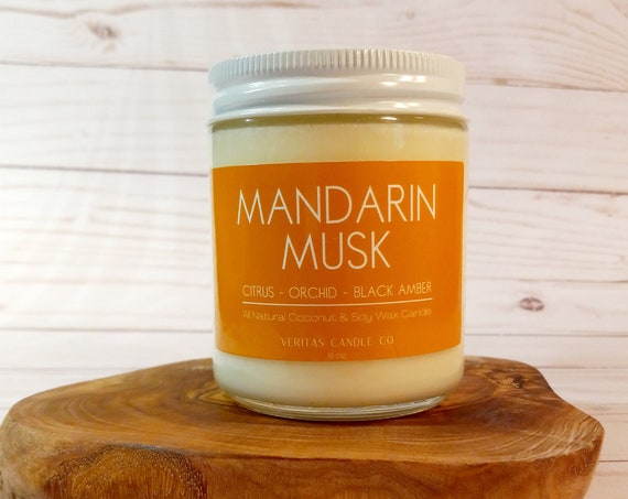 MANDARIN MUSK All Natural Coconut + Soy Wax Candle   Black Amber   Sexy Candle   Bedroom   Sandalwood   Unisex